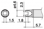 HAKKO - T15-R23 - Soldering tip for FM2027 and FM2028, 4,6 x 1,5 mm, WL39881