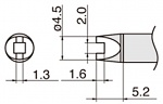 HAKKO - T15-R20 - Soldering tip for FM2027 and FM2028, 4,5 x 1,3 mm, WL39880