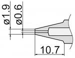 HAKKO - N3-06 - Desoldering nozzle for desoldering tool FM 2024, 0.6 / 1.9 mm, WL39879