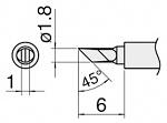 HAKKO - T30-KU - T30 soldering tip series, blade-shaped 1 x 1.8 mm, 45° bevelled, WL34288