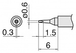 HAKKO - T30-D06 - Soldering tip Series T30, chisel-shaped 0.6 x 0.3 mm, WL34289