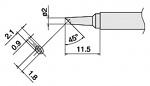 HAKKO - T17-BCM2 - T17 soldering tip series with recess, 2 x 1.8 mm, 45° bevel, WL29125
