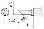 HAKKO - T15-KU - Soldering tip for FM2027 and FM2028, 3 x 1,2 mm, WL23000