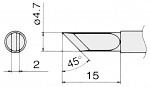 HAKKO - T15-K - Soldering tip for FM2027 and FM2028, 4.7 x 2 mm, WL22994
