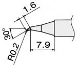 HAKKO - T12-JS02/T15-JS02 - Soldering tip for FM2027 and FM2028, D: 0.2 mm, WL22941