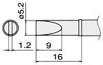 HAKKO - T15-DL52 - Soldering tip for FM2027 and FM2028, 5.2 x 1.2 mm, long form, WL22962