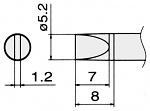 HAKKO - T15-D52 - Soldering tip for FM2027 and FM2028, 5.2 x 1.2 mm, WL22956