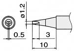 HAKKO - T15-D12 - Soldering tip for FM2027 and FM2028, 1.2 x 0.5 mm, WL22918