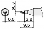 HAKKO - T15-D08 - Soldering tip for FM2027 and FM2028, 0.8 x 0.5 mm, WL22954