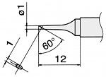 HAKKO - T15-C1 - Soldering tip for FM2027 and FM2028, D 1 mm, 60° bevel, WL22951
