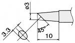 HAKKO - T15-BCF3 - Soldering tip for FM2027 and FM2028, D 3 mm, bevelled, WL22950