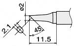 HAKKO - T15-BCF2 - Soldering tip for FM2027 and FM2028, D 2 mm, bevelled, WL22949