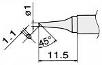 HAKKO - T15-BCF1 - Soldering tip for FM2027 and FM2028, D 1 mm, WL22948
