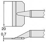 HAKKO - T8-1010 - Desoldering tip pair for desoldering tweezers FM2022, 0.7 x 20 mm, WL23414