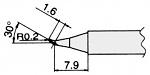 HAKKO - T7-JS02 - Soldering tip for FM2027 and FM2028, D: 0.4 mm, 30° bevel, WL23321