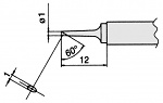HAKKO - T7-C1 - Soldering tip for FM2027 and FM2028, D: 1 mm, 60° bevel, WL23322
