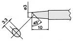 HAKKO - T7-BCF3 - Soldering tip for FM2027 and FM2028, D: 3 mm, 45° bevel, WL23328