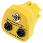 SAFEGUARD - Safeguard ESD - ESD earthing plug, 1 x 10 mm push button, yellow, WL32124