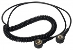 WARMBIER - 2101.752.3.4 - ESD coiled cable, 2 MOhm, black, 2,4 m, 3/4 mm push button, WL34083