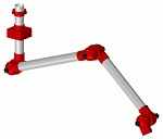 ALSIDENT - 75-9090-3-22-4 - Suction arm system DN75 3 joints, 1990 mm, red - Wall mounting|ceiling mounting, WL27106