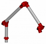 ALSIDENT - 50-3727-1-4 - Suction arm system DN50 3 joints, 765 mm, red - Table mounting, WL15473