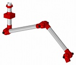 ALSIDENT - 75-6555-3-4 - Suction arm system DN75 3 joints, 1230 mm, red - Ceiling mounting, WL44192
