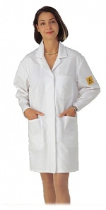 HB SCHUTZBEKLEIDUNG - 08007 48019 000 10 - ESD work coat POWERTEX, long sleeve, ladies, white, M, WL20206