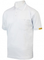 HB SCHUTZBEKLEIDUNG - 08011 86004 002 10 - ESD polo shirt CONDUCTEX men, white breast pocket, XS, WL24118
