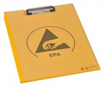 WARMBIER - 5710.CB.Y - ESD clipboard with cover, DIN A4 PVC IDP-STAT, yellow, 485 x 315 mm, WL35655