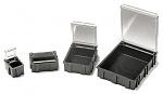 WARMBIER - 5100.880 - SMD-Klappbox, schwarz mit transparentem, metallisiertem Deckel, 16x12x15 mm, WL21029