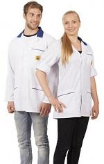 WARMBIER - 2660.KL160.W.XS - ESD work coat, unisex, white/blue, short, XS, WL32049