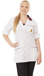 WARMBIER - 2660.KL160.W.BX.XS - ESD work coat, unisex, white/bordeaux, short, XS, WL32058