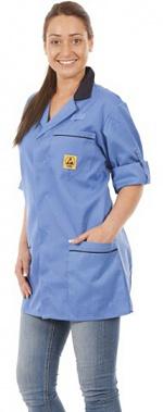 WARMBIER - 2660.KL160.B.XS - ESD work coat, unisex, blue/dark blue, short, XS, WL32067