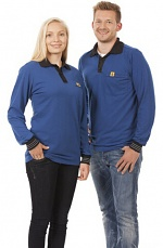 WARMBIER - 2647.P.XS - ESD Polo-Shirt long sleeve, blue/black, unisex, XS, WL44103