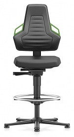 BIMOS - 9031-2000-3280 - Laboratory chair NEXXIT 3, with glider and foot ring, integral foam, handles green, WL43917