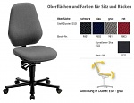BIMOS - 9155E-9801 - ESD chair BASIC 2 with castors, fabric Duotec black, permanent contact and seat inclination, backrest 530 mm, WL29521