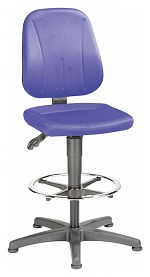 BIMOS - 9651-CI02 - Work chair Unitec 3, with glider and foot ring, fabric upholstery blue, WL40301