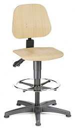 BIMOS - 9651-3000 - Work chair Unitec 3, with glider and foot ring, beech plywood, WL40299