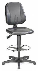 BIMOS - 9651-0551 - Work chair Unitec 3, with glider and foot ring, imitation leather black, WL40302