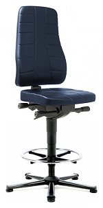 BIMOS - 9641-6902 - Work chair All-In-One Highline 3, glider and foot ring, imitation leather blue, WL40255