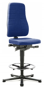 BIMOS - 9641-6802 - Work chair All-In-One Highline 3, glider and foot ring, fabric Duotec blue, WL40251