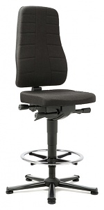 BIMOS - 9641-6801 - Work chair All-In-One Highline 3, glider and foot ring, fabric Duotec black, WL40250