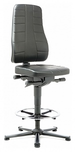 BIMOS - 9641-2571 - Work chair All-In-One Highline 3, glider and foot ring, imitation leather black, WL40254