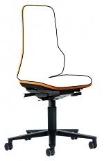 BIMOS - 9573-9999-3279 - Neon 2 work chair with castors, Flexband orange Synchrontechnik, WL40161