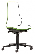 BIMOS - 9563-9999-3280 - Neon 2 work chair with castors Flexband green, permanent contact, WL40150