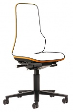 BIMOS - 9563-9999-3279 - Neon 2 work chair with castors Flexband orange, permanent contact, WL40149