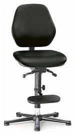 BIMOS - 9152E-2571 - ESD chair BASIC 3, glider, ascent aid, permanent contact, imitation leather black, backrest 430 mm, WL40356