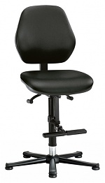 BIMOS - 9131-2571 - Laboratory chair Basic 3, with glider and climbing aid, black imitation leather, backrest 430 mm, WL40462