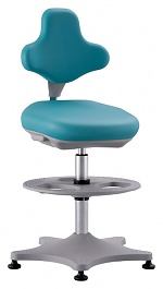 BIMOS - 9101-6914 - Lab chair Labster 3 glider and foot ring, imitation leather mint, WL40392
