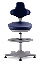 BIMOS - 9101-6902 - Lab chair Labster 3 glider and footring, imitation leather blue, WL40389